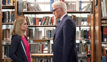 "Kristen Bell and Ted Danson in a scene from ""The Good Place."""