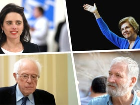 From left to right, clockwise: Ayelet Shaked, leader of the right-wing Yamina party; Democratic presidential hopefuls Elizabeth Warren and Bernie Sanders; and Israeli settler leader Ze'ev (Zambish) Hever