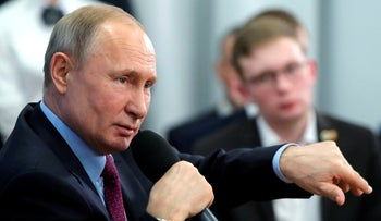Russian President Vladimir Putin speaks during a meeting with students and researchers of an industrial college in Cherepovets, Russia, Tuesday, on February 4, 2020.