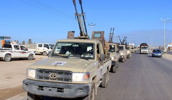 Military vehicles of the Libyan internationally recognised government forces head out to the front line from Misrata, Libya February 3, 2020.