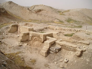 Tel Jericho. Denizens of ancient Jericho used mud-brick to heighten their city wall.