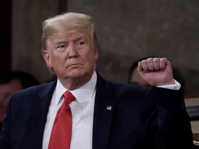 President Donald Trump delivers the State of the Union address in the chamber of the House of Representatives at the U.S .Capitol Building in Washington, February 4, 2020.