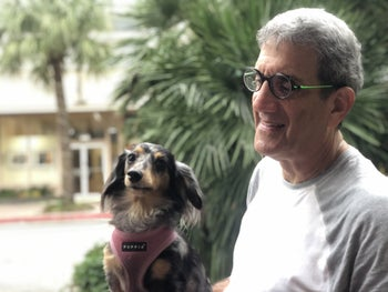 Marc Weiss and his dog, Karma, in Galveston.