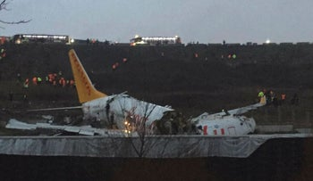 This picture taken on February 05, 2020, shows a Pegasus airlines boeing 737 plane after it skidded off the runway at Istanbul's Sabiha Gokcen airport
