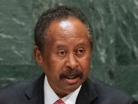 Sudan's Prime Minister Abdalla Hamdok addresses the UN General Assembly on September 27, 2019.