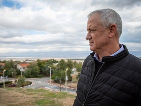 Kahol Lavan leader Benny Gantz touring the Jordan Valley.