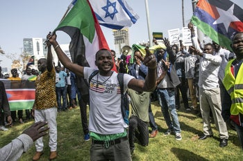 Sudanese asylum seekers protesting in support of Omar al-Bashir's removal in Sudan, Tel Aviv, Israel, April 12, 2019.