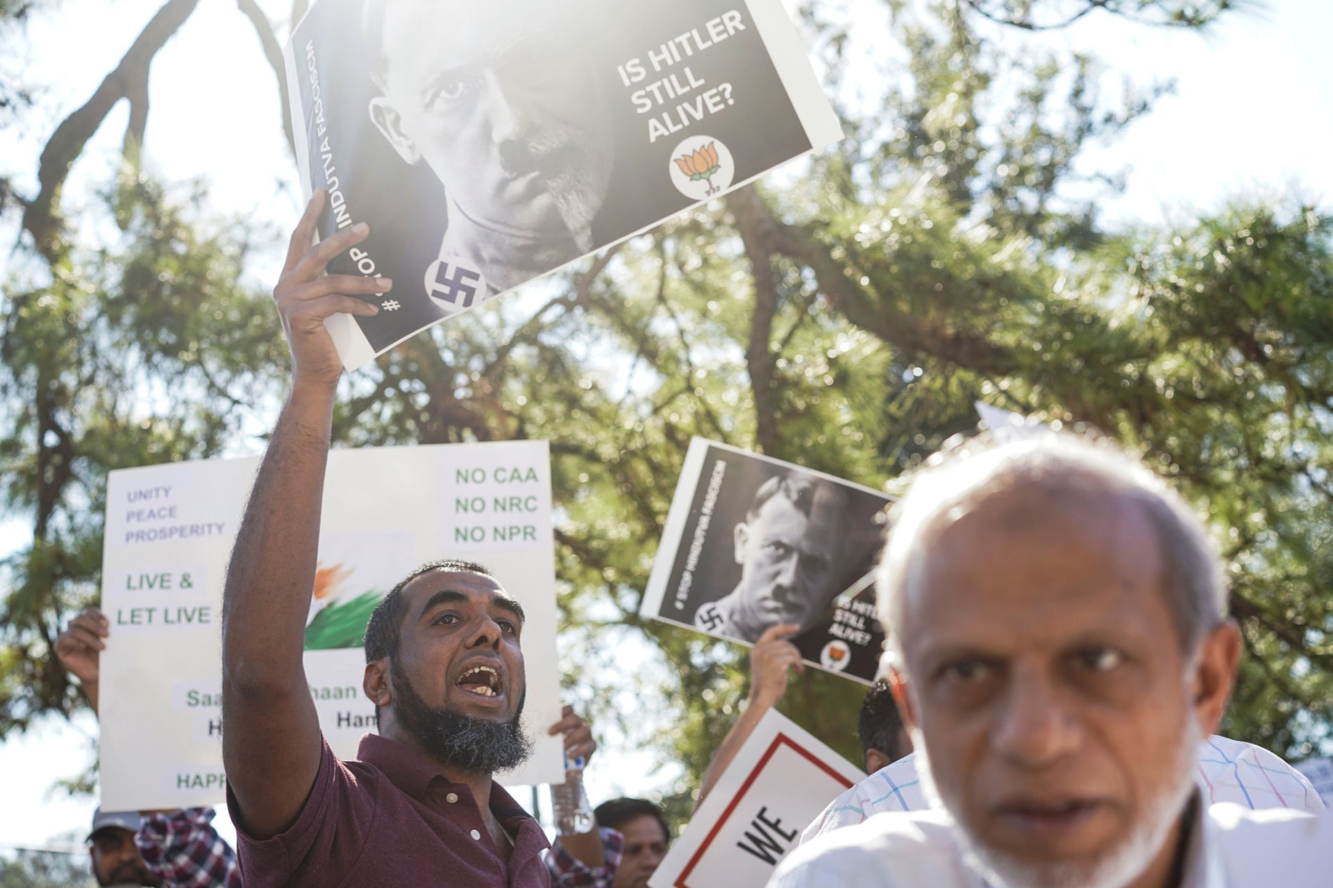 Protesters rally against India's new citizenship law during a demonstration in Houston, Texas, U.S. January 26, 2020.