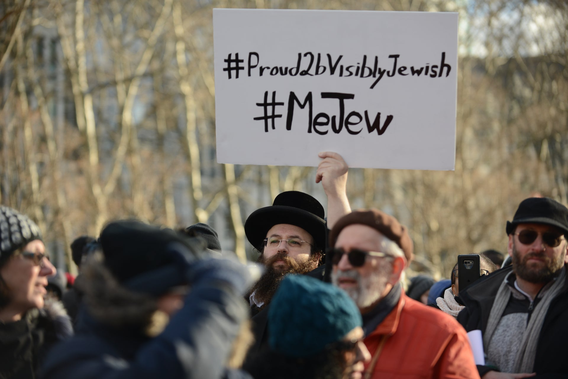 A protester during a march against anti-Semitism, New York, January 5, 2020