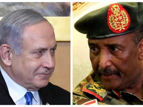 Collage of Israeli PM Benjamin Netanyahu, Jerusalem, January 23, 2020 and Sudan's Abdel Fatah al-Burhan, Khartoum, August 17, 2019