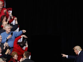 President Donald Trump walks to the podium before speaking at a campaign rally inside of the Knapp Center arena at Drake University on January 30, 2020 in Des Moines, Iowa.