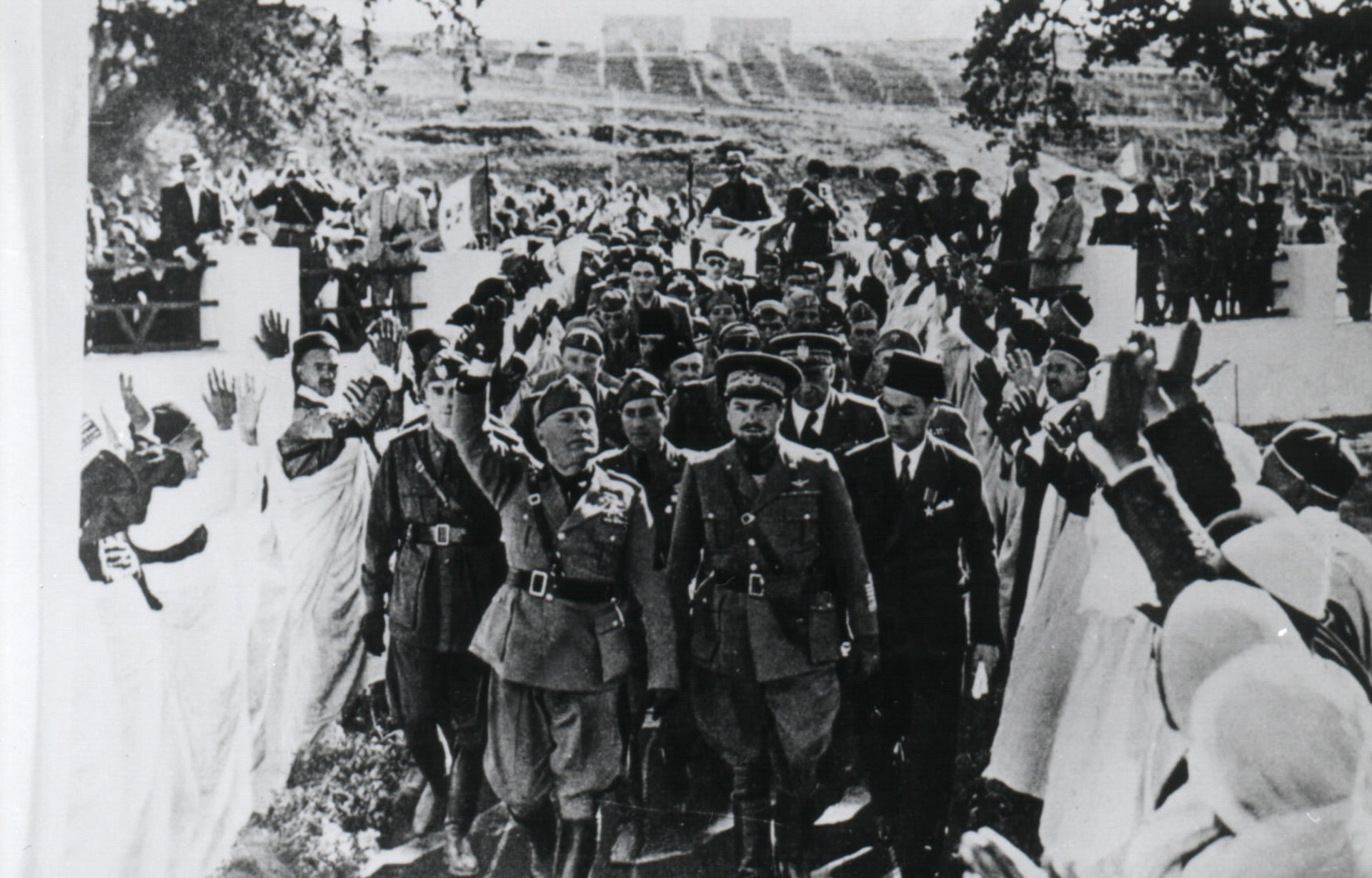 Governor-General Balbo and Mussolini during the latter's visit to Libya in 1937.
