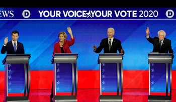 Democratic 2020 U.S. presidential candidates former South Bend Mayor Pete Buttigieg, Senator Elizabeth Warren, former Vice President Joe Biden and Senator Bernie Sanders in the eighth Democratic 2020 presidential debate, February 7, 2020.