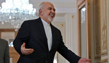 Iran's Foreign Minister Mohammad Javad Zarif prepares to welcome Venezuela's foreign minister at the Foreign Ministry headquarters in the capital Tehran on January 20, 2020.