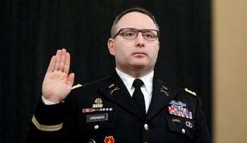 National Security Council aide Lt. Col. Alexander Vindman is sworn in to testify in Washington, D.C. during am impeachment hearing of President Donald Trump, November 19, 2019.
