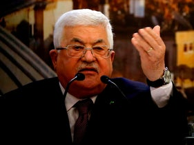 Mahmoud Abbas delivers a speech in Ramallah on January 28, 2020.