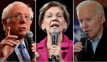 Democratic presidential contenders Bernie Sanders, left, Elizabeth Warren and Joe Biden speaking on the campaign trail in New Hampshire, February 2020.