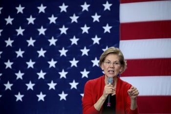 Democratic presidential candidate Sen. Elizabeth Warren speaks at a rally in Concord, New Hampshire on February 09, 2020