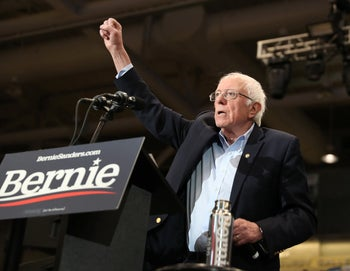 Democratic presidential candidate Senator Bernie Sanders speaks during a campaign event at Whittemore Center Arena, New Hampshire, February 10, 2020.