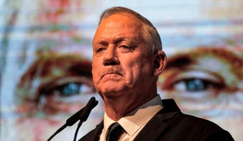 Benny Gantz attends an election rally in Rishon LetZion on February 4, 2020.