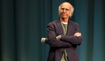 """Larry David during a performance of the comedy """"Fish in the Dark,"""" at the Cort Theatre in New York."""