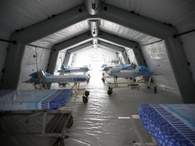 Tent with beds for potential coronavirus patients at Sheba Medical Center, February 2020.