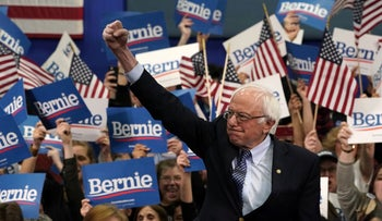 Democratic presidential hopeful Vermont Senator Bernie Sanders at a Primary Night event at the SNHU Field House in Manchester, New Hampshire. Feb 11, 2020