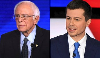 Democratic presidential hopeful Vermont Senator Bernie Sanders (L) during the eighth Democratic primary debate in Manchester, New Hampshire, on February 7, 2020, and Democratic presidential hopefuls Mayor of South Bend, Indiana Pete Buttigieg (C) and Minnesota Senator Amy Klobuchar during the seventh Democratic primary debate in Des Moines, Iowa on January 14, 2020