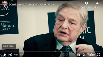 Screenshot from Donald Trump's final 2016 campaign ad: The image of George Soros appears as the voiceover refers to those who 'control the levers of power in Washington and global special interests'