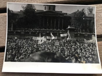The July 1946 demonstration in London's Trafalgar Square by the Jewish community, following the arrest of the Jewish leadership in British Mandatory Palestine.