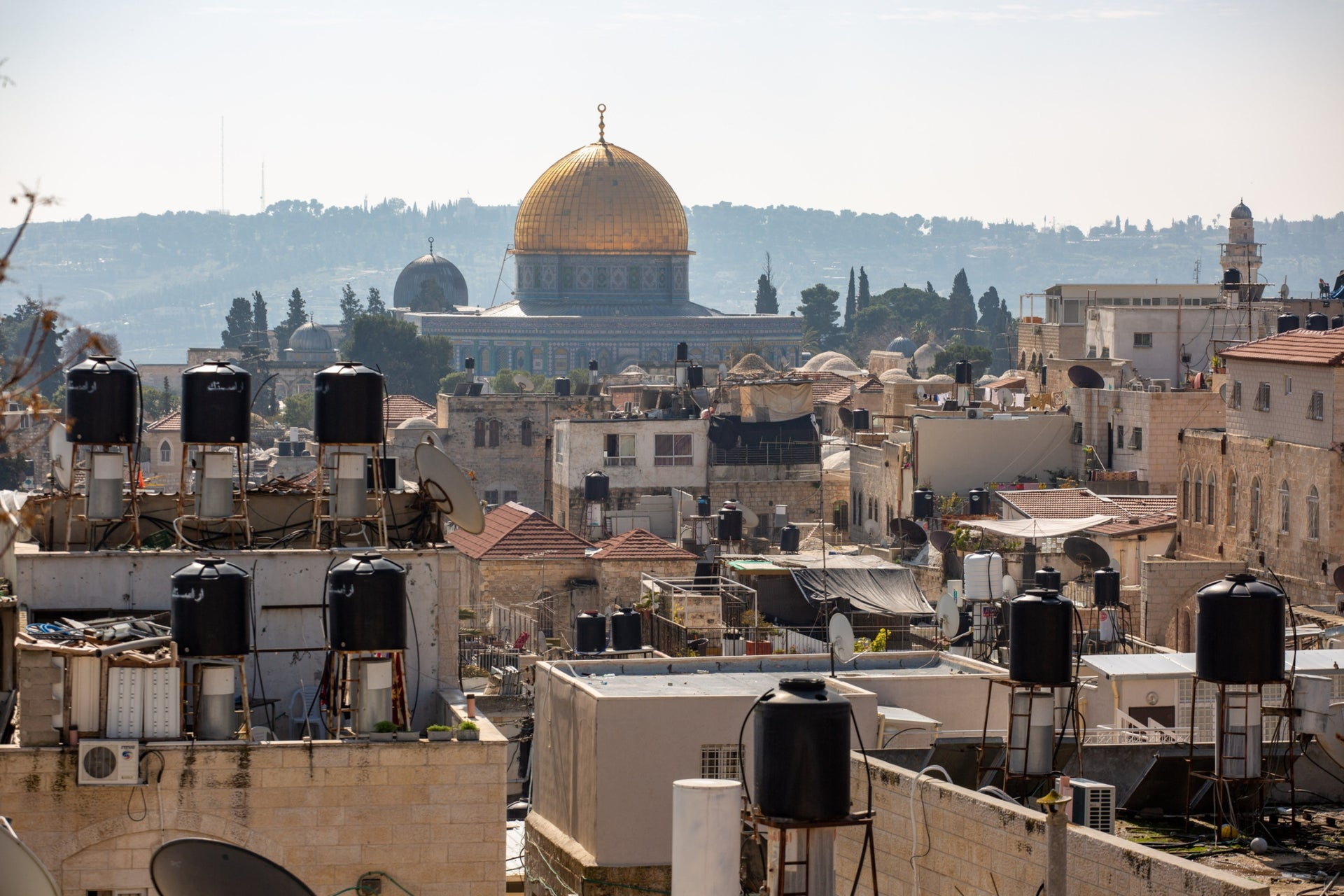 A view onto the Old City in Jerusalem, February 2020.