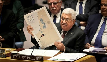 Palestinian President Mahmoud Abbas speaks during a Security Council meeting at United Nations headquarters, Feb. 11, 2020.