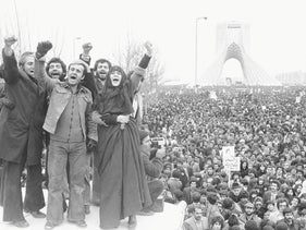 In this photo from 1979, more than a million supporters of an Islamic republic assembled around Shayad monument in Tehran.