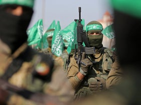 Palestinian Hamas militants take part in an anti-Israel military show in the southern Gaza Strip November 11, 2019