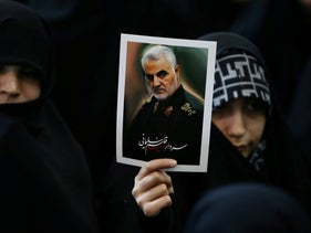 Iranian women gather to mourn during the forty days memorial, after the killing of Iran's Quds Force top commander Qassem Soleimani in a U.S. air strike at Baghdad airport, February 09, 2020.