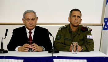 Benjamin Netanyahu and Chief of Staff Aviv Kochavi deliver joint statements in Tel Aviv, Israel November 12, 2019
