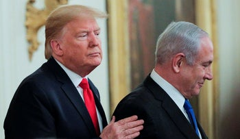 Donald Trump and Benjamin Netanyahu at a joint news conference in the East Room of the White House in Washington, U.S., January 28, 2020