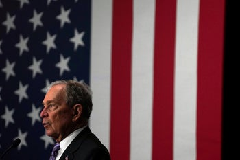 Democratic presidential candidate Michael Bloomberg campaigning in Houston, February 13, 2020.