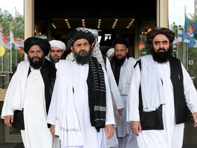 Members of a Taliban delegation leaving after peace talks with Afghan senior politicians in Moscow, Russia May 30, 2019.