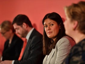 Lisa Nandy looks at the camera while onstage at the Labour leadership hustings, February 8, 2020.