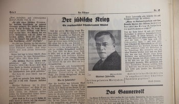 The picture of revisionist Zionism's forefather Ze'ev Jabotinsky in a 1943 issue of Der Stürmer.