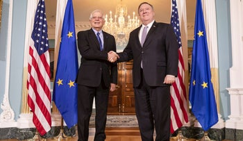 U.S. Secretary of State Mike Pompeo (R) meets with EU High Representative for Foreign Affairs and Security Josep Borrell at tin Washington, DC, Feb. 7, 2020.
