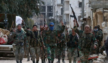 Members of the Syrian army deploy in the al-Rashidin 1 district, in Aleppo's southwestern countryside, February 16, 2020.