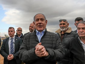Benjamin Netanyahu on a tour of the Jordan Valley, West Bank, Feburary  10, 2020