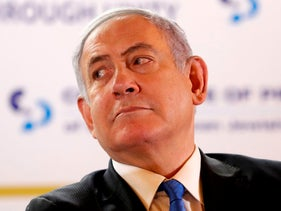 Benjamin Netanyahu attends the Conference of Presidents of Major American Jewish Organisations (CoP) in Jerusalem on February 16, 2020.