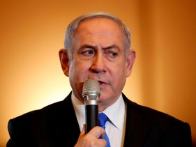 Benjamin Netanyahu addresses the Conference of Presidents of Major American Jewish Organizations  in Jerusalem on February 16, 2020. (Photo by