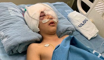 Nine-year-old Malek Issa from the embattled East Jerusalem neighborhood of Isawiyah is seen in hospital after he was shot by Israeli police.