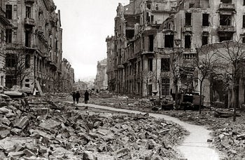 A street in Warsaw destroyed during the failed 1944 uprising against the Nazi German occupiers