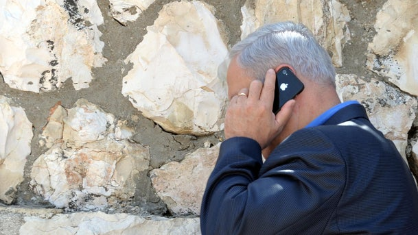 Netanyahu talking on the phone in Jerusalem