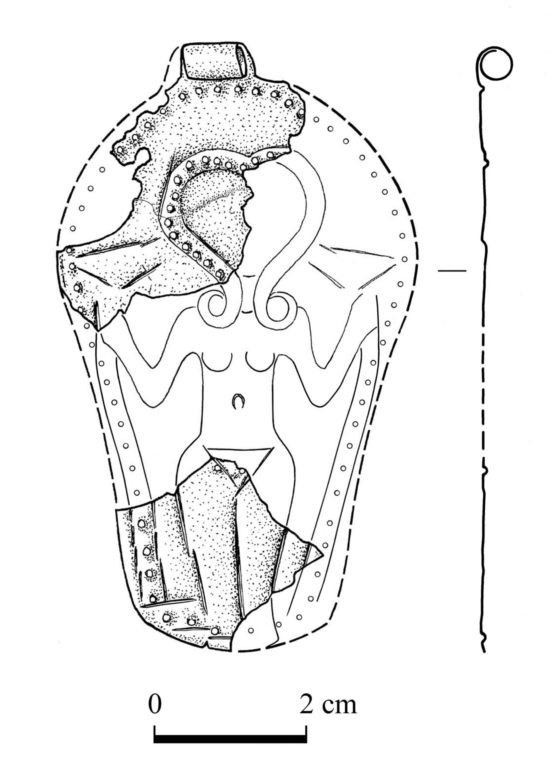 Illustration of the pendant depicting goddess with Hathor coiffure, holding lotus flowers or papyrus